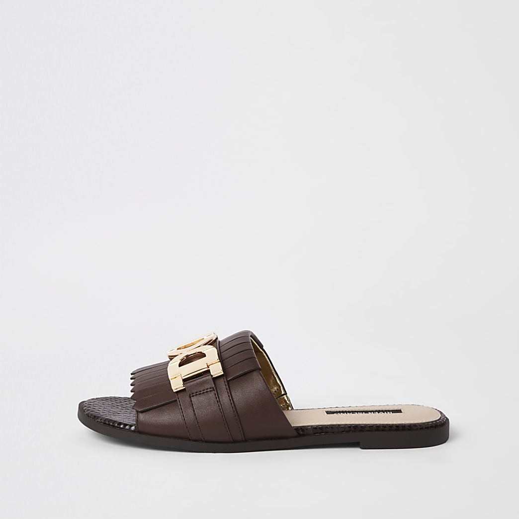 Brown peep toe wide fit backless loafers