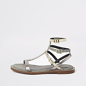 Silver pearl wide fit gladiator sandals