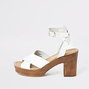 White leather cross platform sandals