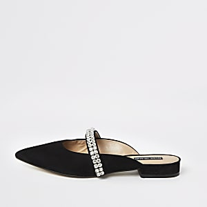 Black rhinestone pointed backless loafers