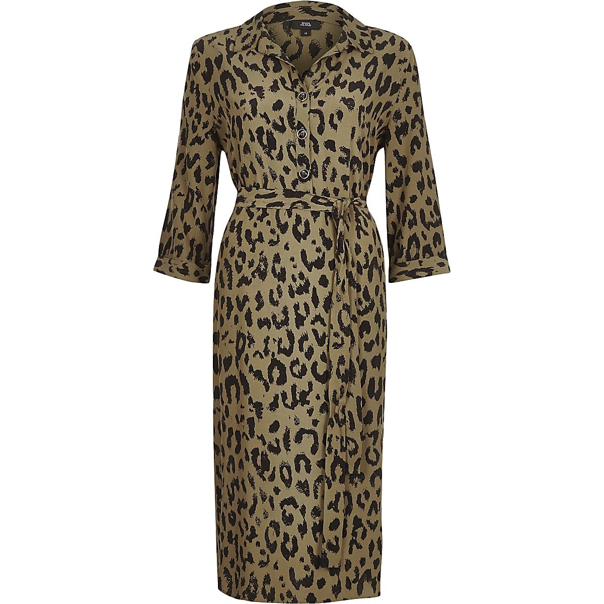 79bc426462f4 Khaki leopard print tie waist shirt dress - Shirt Dresses - Dresses ...