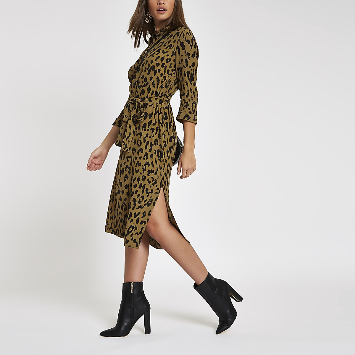 Khaki leopard print tie waist shirt dress