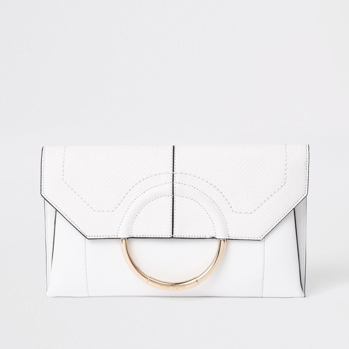 White circle front envelope clutch bag