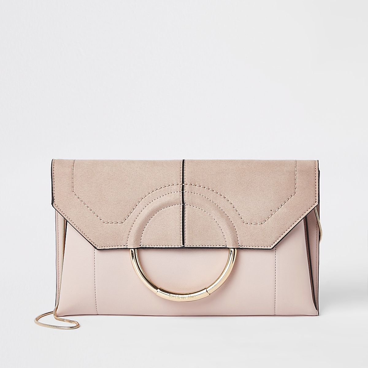 Light pink circle front envelope clutch bag