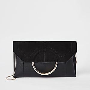 Black circle front envelope clutch bag