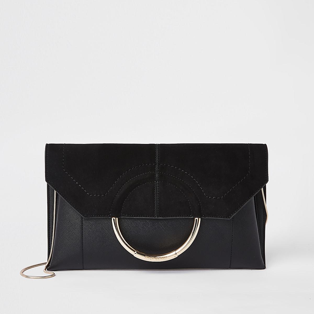 Black circle front envelope clutch bag
