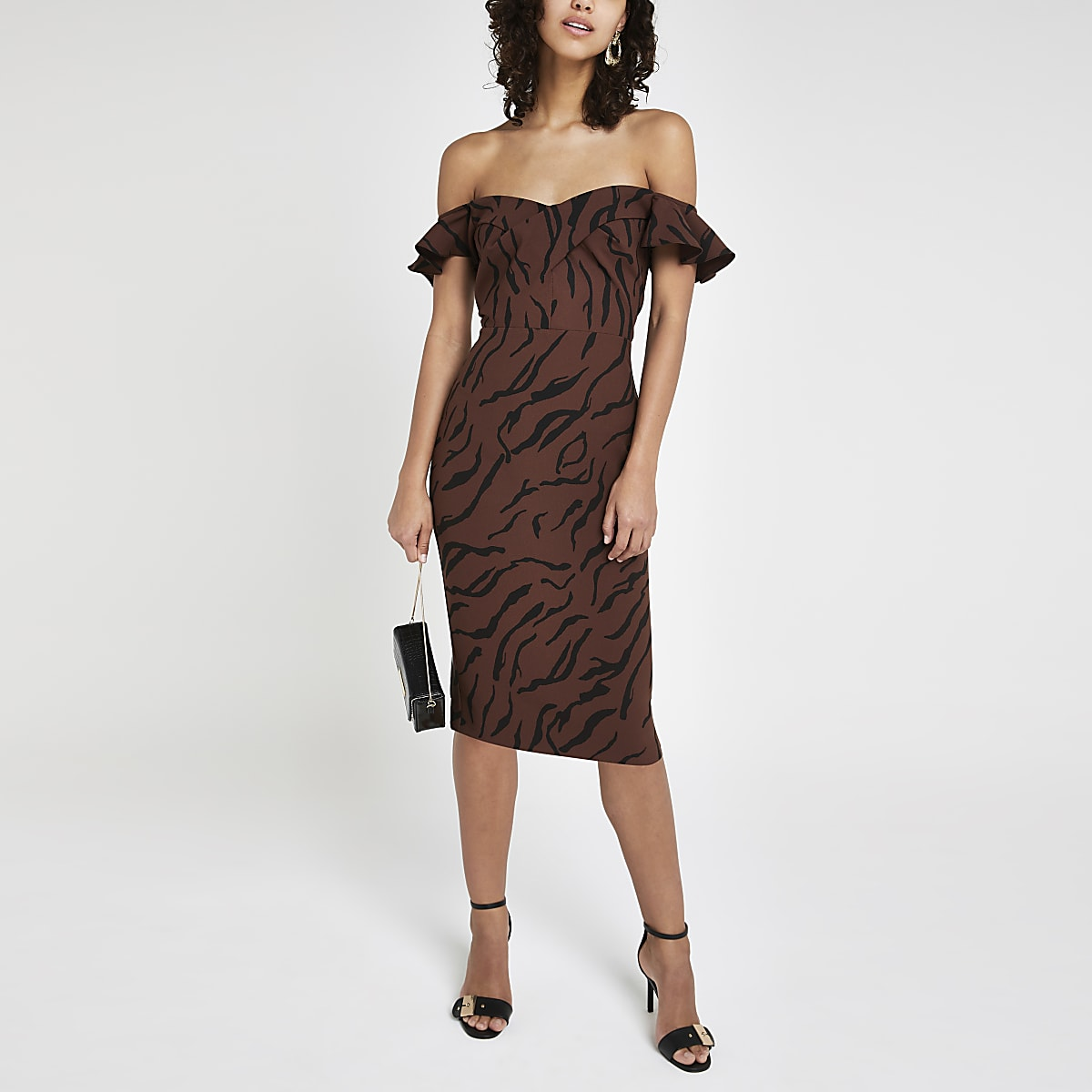 Brown tiger print bodycon midi dress