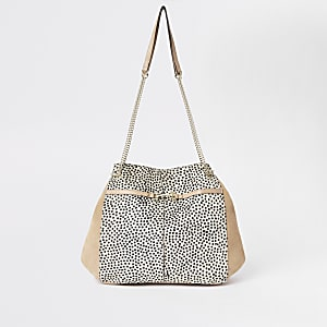 Beige leather spot slouch bag