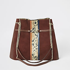 Dark red leather snake print slouch bag