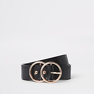 Black croc rose gold tone buckle jeans belt