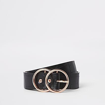 Black croc rose gold tone buckle jeans belt