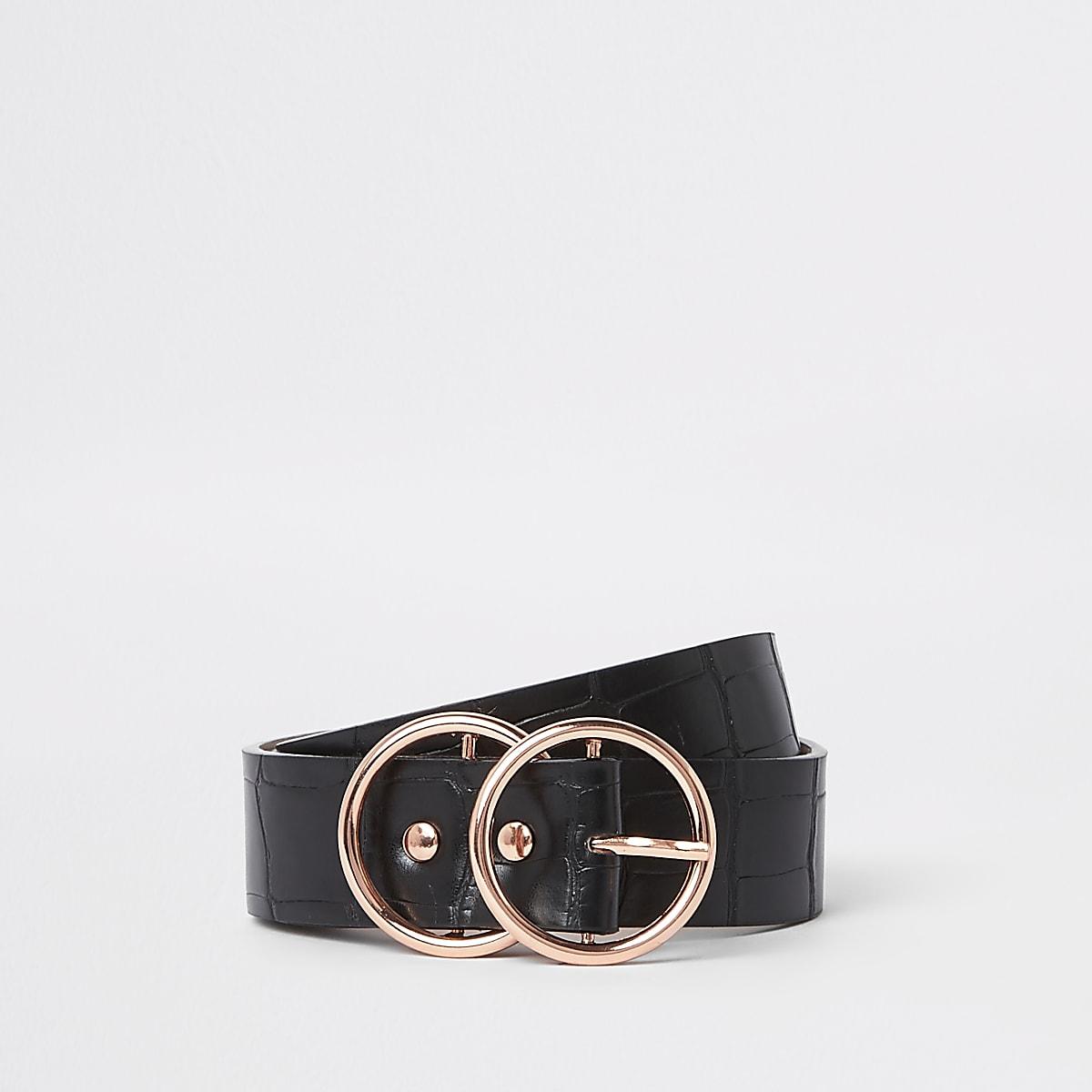 Zwarte jeansriem met krokodillenreliëf en roségoudkleurige gesp