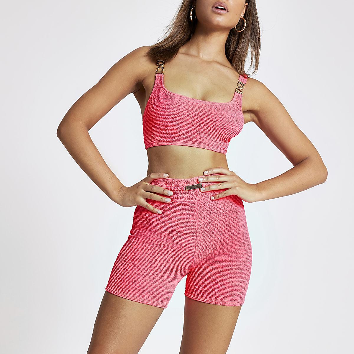 Neon pink high waist bikini shorts