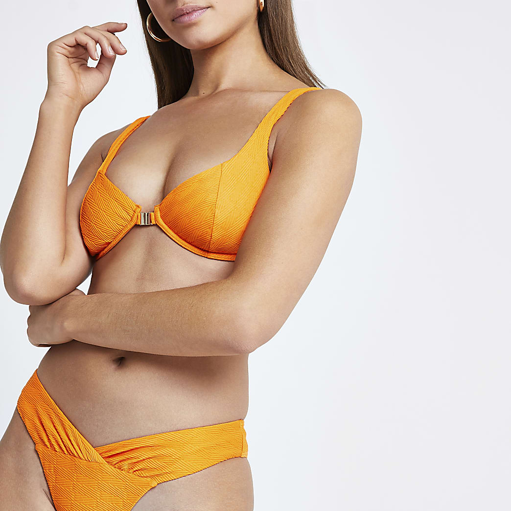 Bright orange triangle bikini top