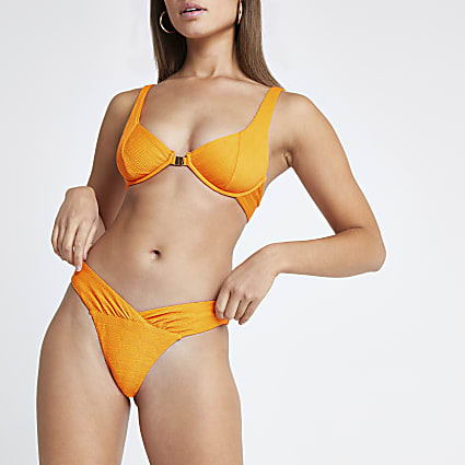 Orange ruched V front high leg bikini bottoms