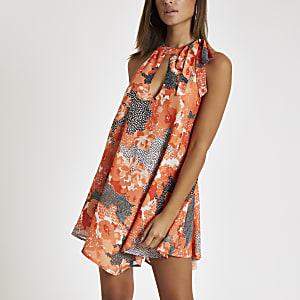 Robe de plage dos nu à fleurs corail