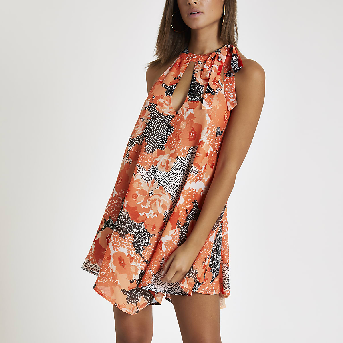 Coral floral halter neck beach dress
