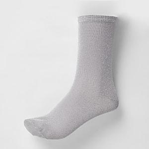 Silver metallic ankle socks