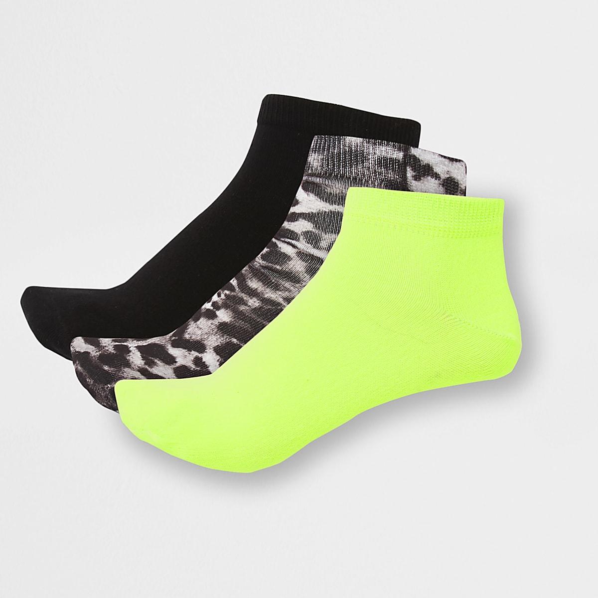 Green animal print sneaker socks 3 pack