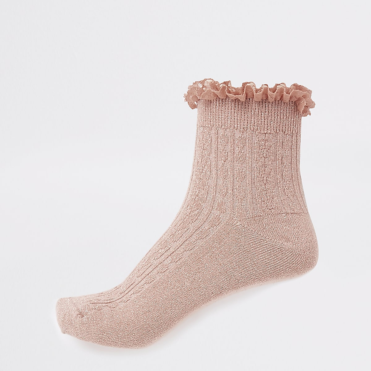 Coral cable knit frill sock