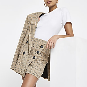 Brown check button wrap skirt