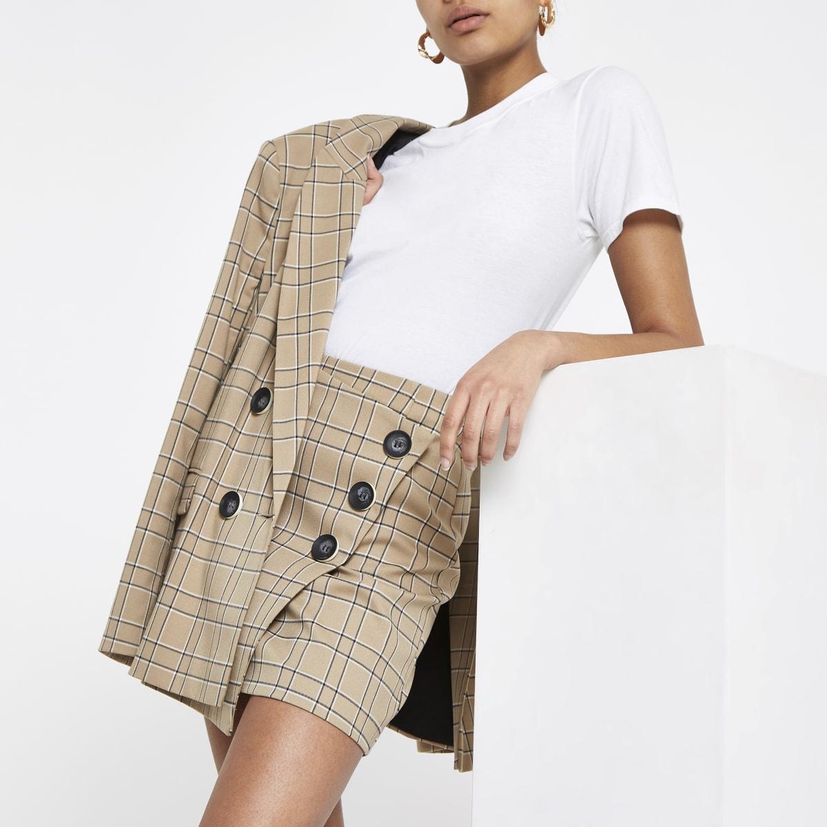 Brown check button wrap skirt