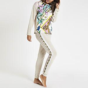 Beige floral print pyjama joggers