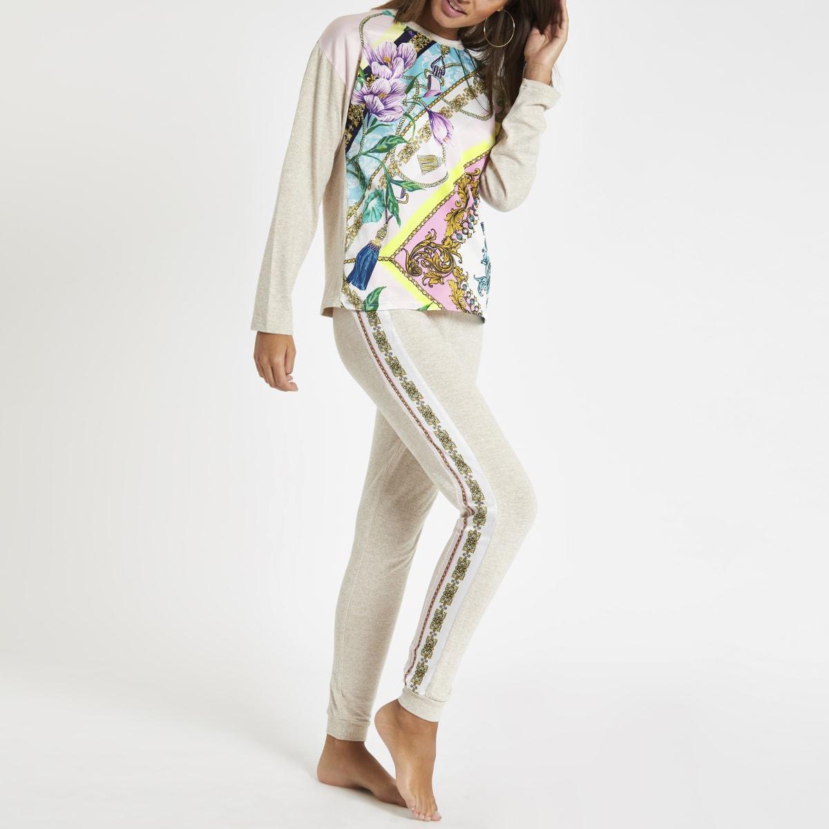 Beige pyjamajoggingbroek met bloemenprint