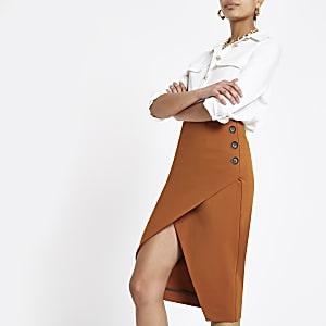 Jupe crayon portefeuille marron à boutons