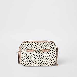 Black leather spot cross body bag