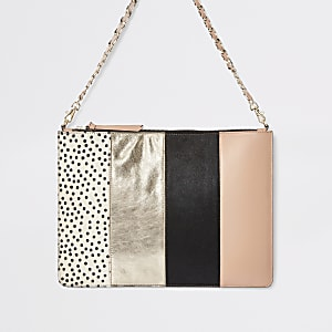 Beige leather spot pouch clutch bag