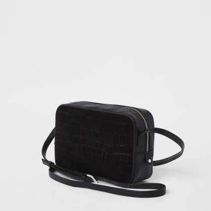 Black leather croc embossed cross body bag