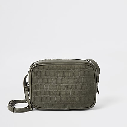 Khaki leather croc mini boxy cross body bag