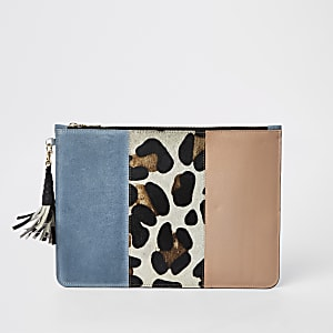 Blue leopard print leather pouch clutch bag