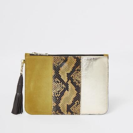 Yellow snake print leather pouch clutch bag