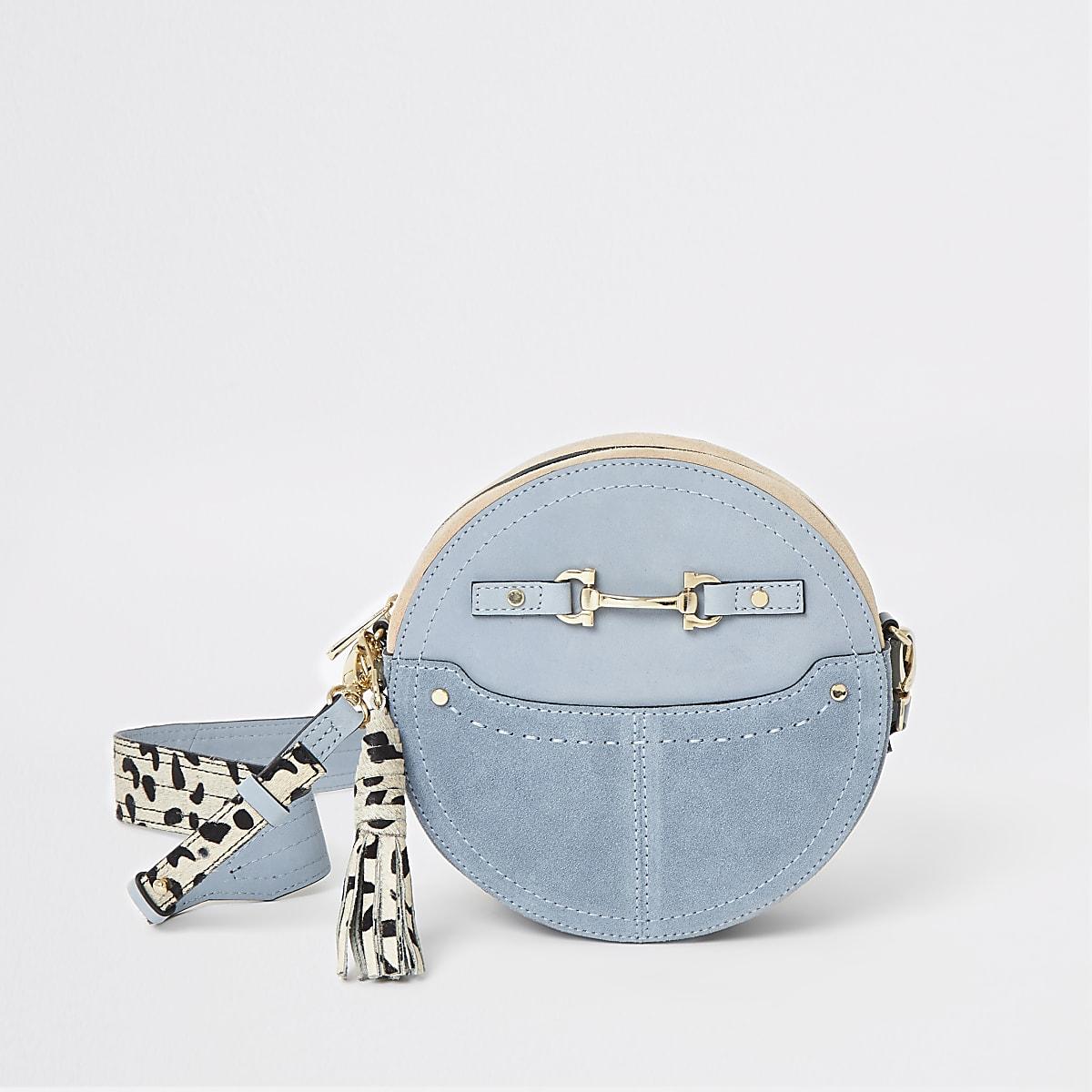 Hellblaue, runde Umhängetasche aus Leder