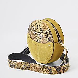 Sac à bandoulière en cuir motif serpent jaune à cercle