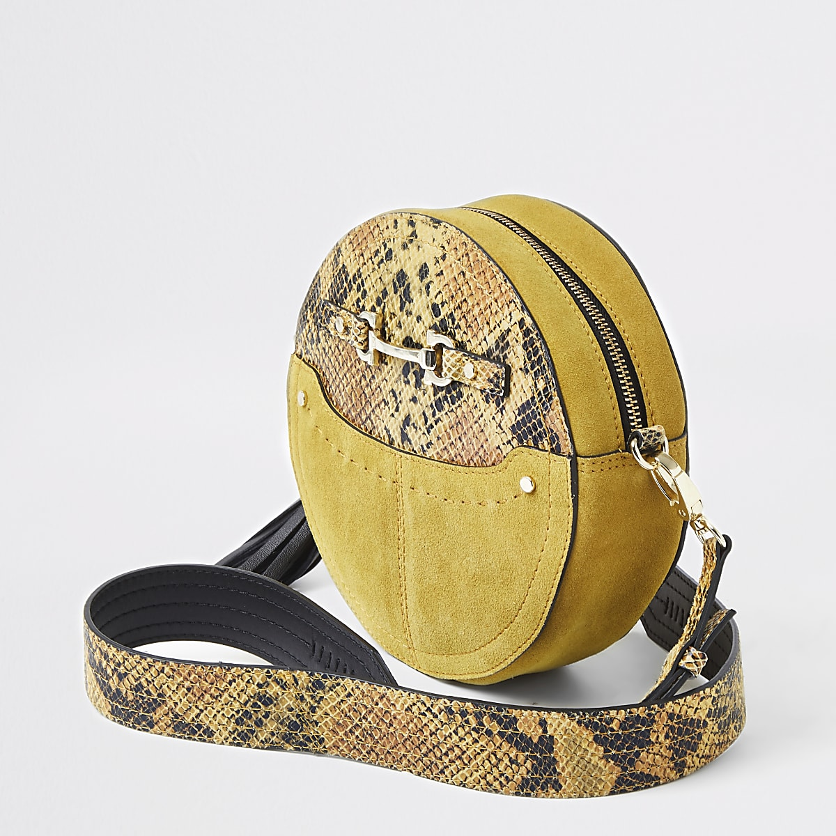 Yellow snake print circle cross body bag