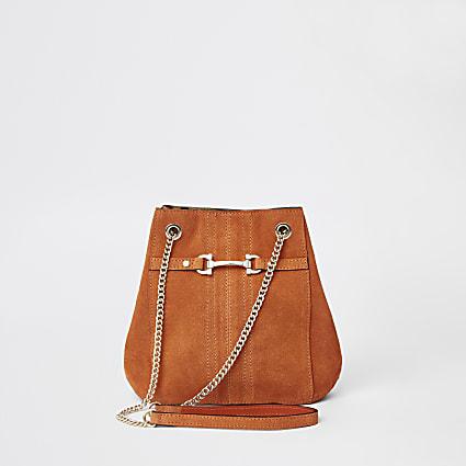 Orange leather snaffle cross body bag