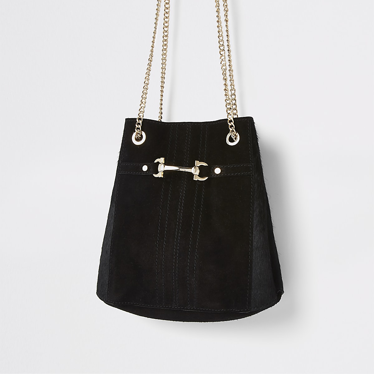 Black leather snaffle front cross body bag