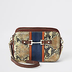 Bordeauxrode crossbodytas met slangenprint