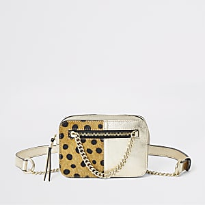 Gold leather spot print belted bum bag