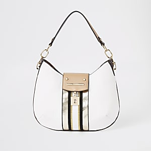 White lock front scoop slouch bag