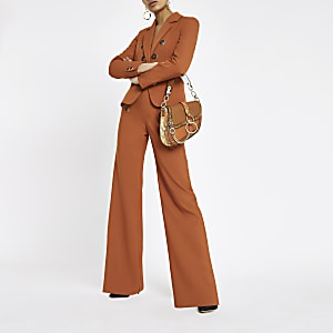 Copper button wide leg pants
