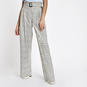 Grey check paperbag waist pants