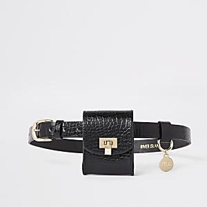 Zwarte tas met riem en krokodillenreliëf