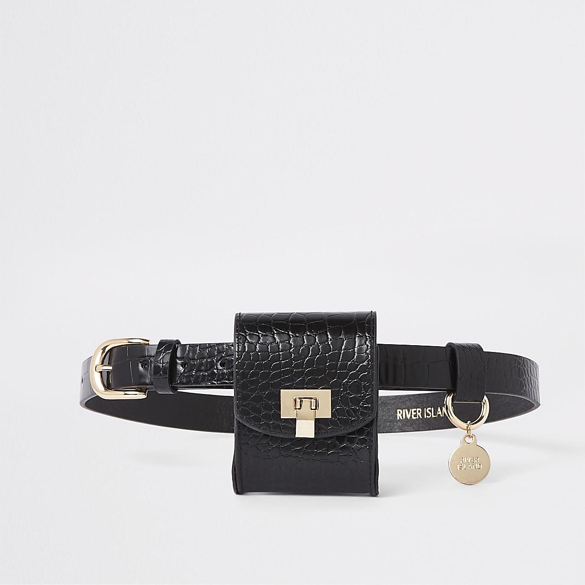 Black croc embossed belt bag