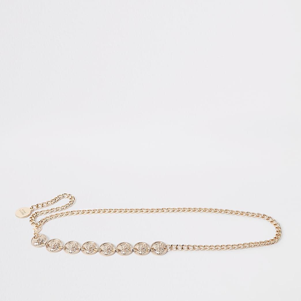Gold colour jaguar coin head waist belt