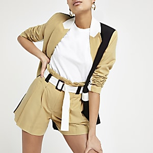 Light brown paperbag tailored shorts