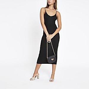 Black ribbed cami midi dress